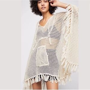 Free People Sand And Sea Crochet Poncho Kimono